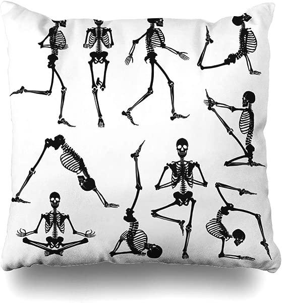 Ahawoso Throw Pillow Cover Health Yoga Human Skeletons Black Doing Exercise Gymnastics Anatomical Anatomy Arm Design Decorative Pillow Case 18x18 Inches Square Home Decor Pillowcase