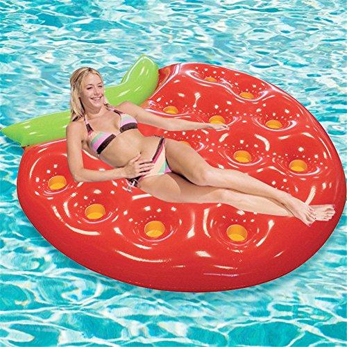 Fil gonflable d'eau de fraise de PVC épais filet chaise de rangée flottante, gonflable Lounge / Pool Loungers Toy pour adultes et enfants