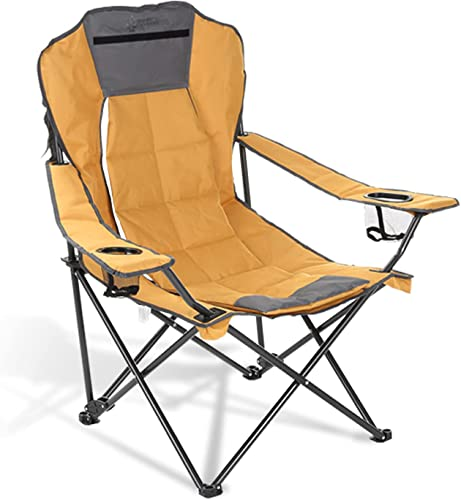 popular ARROWHEAD OUTDOOR Portable Folding Hybrid discount 2-in1 Camping Chair, Adjustable Recline, Vent, Padding, Cup Holder & Storage Pouch, Heavy-Duty, Oversize, Supports 300lbs, Includes Bag, USA-Based sale Support online