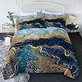 BlessLiving Watercolor Marble Bed Comforter King Navy Blue and Gold Foil Comforter Set Modern Quilt Sets Super Soft Bedding for All Seasons 3 pcs (1 Bed Comforter + 2 Pillowcases)