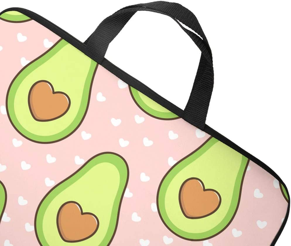 Love Avocado Fruits Dots Pink Laptop Bag Cool Pattern Laptop Bag Portable Polyester Notebook Carrying Case for Boyfriend Girlfriend White 15inch