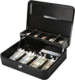Jssmst Large Cash Box with Lock - 2017 New Metal Money Box 100% Safe, 11.8L x 9.5W x 3.5H Inches, Black, SM-CB0501L