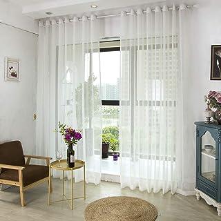 fgdsa Blanco Semi-Pura Cortina Grommet,para Dormitorio Sala De Estar Balcón Hogar Decoradra,fácil De Instalar Cortina De O...