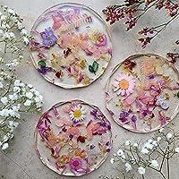 Bella ciao Resin Untersetzer Gläser - 4er-Set/Bundle Summer Flowers Diamond | Trockenblumen | Hochzeitsdeko Blumenbouquet