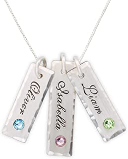 Unity in Three with Swarovski Setting Personalized Charm Necklace. Customized Pendants with Names of Your Choice. Choose Up to 3 Birthstones, and 925 Chain. Gifts for Her