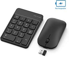 Rechargeable Wireless Number Pad and Mouse Combo, Jelly Comb N026C 2.4GHz Portable Ultra Slim USB Numeric Keypad and Mouse for Laptop, PC