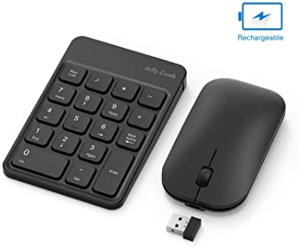 Rechargeable Wireless Number Pad and Mouse Combo, Jelly Comb N026C 2.4GHz Portable Ultra Slim USB Numeric Keypad and ...