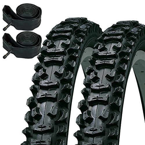 Kenda Smoke 26' x 1.95 Mountain Bike Knobbly Tyres & Schrader Inner Tubes (Pair)