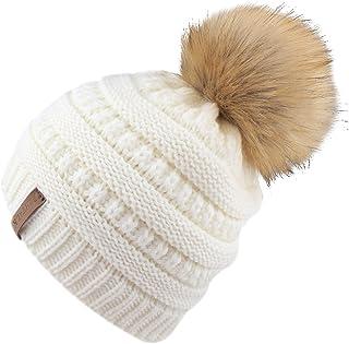 FURTALK Kids Slouchy Winter Knit Beanie Hats Faux Fur Pom Pom Hats Boys Girls