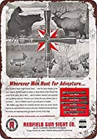 レッドフィールドガンサイトウォールメタルポスターレトロプラーク警告ブリキサインヴィンテージ鉄絵画装飾オフィスの寝室のリビングルームクラブのための面白いハンギングクラフト