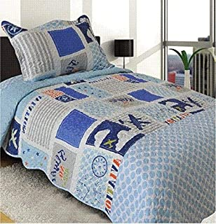 Golden Linens Twin Size 2 Pieces Quilt Bedspread Set Kids New Designs for Boys & Girls (airplane (99))