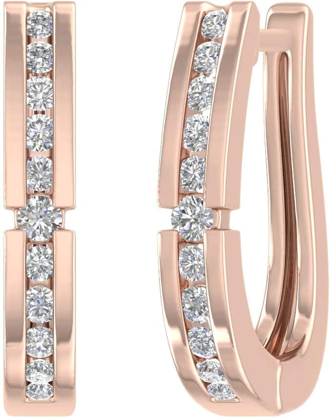1/4 Carat Diamond Hoop Earrings in 10K Gold