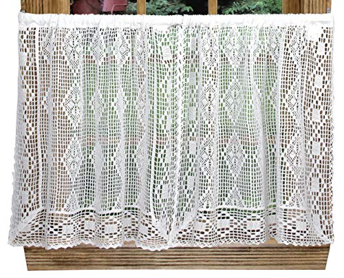 Diamond Crochet 58 Inches Wide x 24 Inches Long Cotton Tier Curtain, White