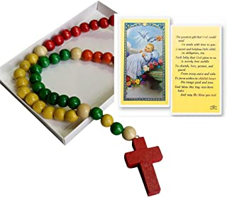 Inspire Nation Kiddie Rosary Wooden Beads 24 inch Strand with Holy Prayer Card and Gift Box