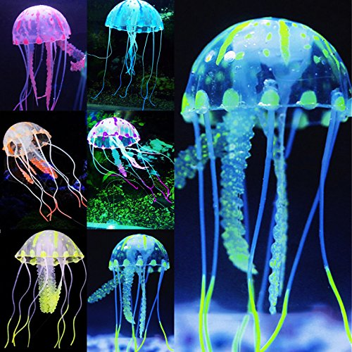 Uniclife 6 Pcs Glowing Jellyfish Ornament Decoration for Aquarium Fish Tank
