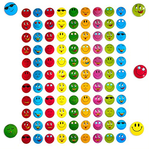 Oblique-Unique® 900 x Smiley Face Sticker I Bunt I Glänzender Metallic Look I Niedliche Dekoration