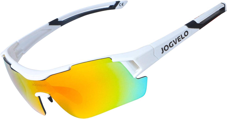 JOGVELO Sport Sunglasses Polarized for Men UV400 Protection con 5 Interchangeable Lens for Cycling Running Baseball Golf, White-1 : Sports & Outdoors