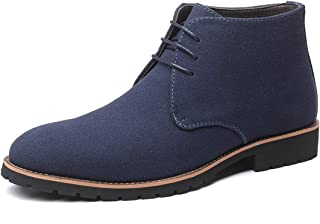 YND Men's Classic Suede Leather Lace Up Oxford, Casual Plain Toe, Chukka Ankle Boots