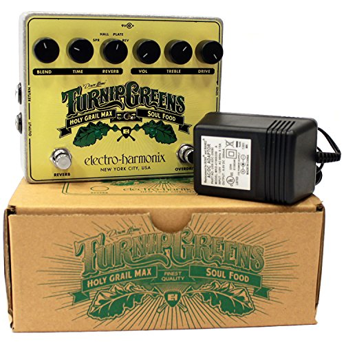 Electro Hamonix Turnip Greens combo pedal Holy Grail Max and Soul Food Stomp Box includes EHX 9.6DC/200 AC Adapter