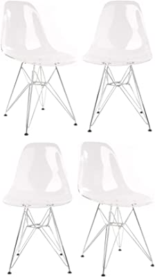 CozyBlock 4 X DSW Molded Clear Plastic Dining Shell Chair with Steel Legs