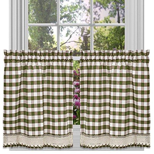 Achim Home Furnishings Tier Pair Buffalo Check Window Curtain, 58 x 24, Sage & Ivory,BCTR24SG12