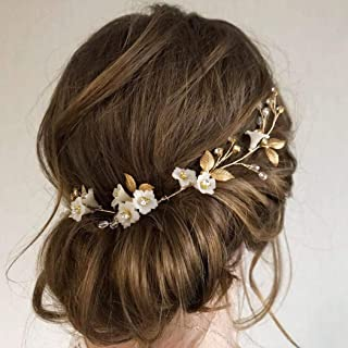 Barode Bridal Wedding Hair Vines Flower Sparkly Rhinestones Side Headpieces Crystals Bride Headband Gorgeous Leaves Hair Accessories for Women and Girls (Gold)