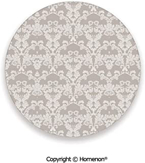 Nature Garden Themed Pattern with Damask Imperial Tile Rococo Inspired Stylized,Hot Sale Coasters Protection From Drink Taupe and White,3.9×0.2inches(4PCS),Ceramic Coasters Set With Cork Base