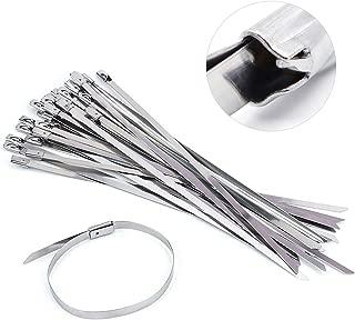 NATUCE 100 Pieza 300 x 4,6 mm Bridas Metalicas Cable Lazos, Acero Inoxidable Bridas para Cables, SS304 Bridas de Acero Inoxidable con Cierre de Cremallera para Tubo de Escape, Autoblocante