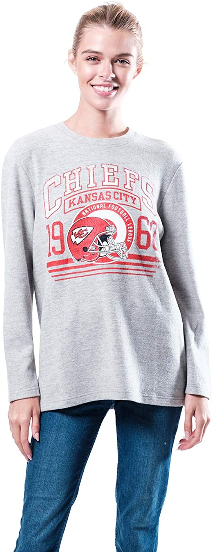 Ultra Game NFL Los Angeles Rams Womenss Sleepwear Pajama Sleep Lounge Shirt Loungewear, Gray, Medium