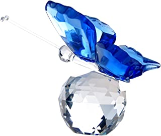 H&D Crystal Flying Butterfly with Crystal Ball Base Figurine Collection Cut Glass Ornament Statue Animal Collectible (Blue)