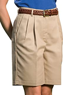 Women's Business Casual Pleated Front Chino Pocket Short