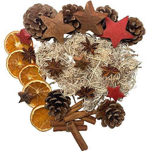 Natur Dekoration Weihnachten Deko Adventskranz - getrocknete Orangenscheiben, Zimtstangen, Sternanis, Kokossterne, Tannenzapfen - Weihnachtskranz Adventsgesteck