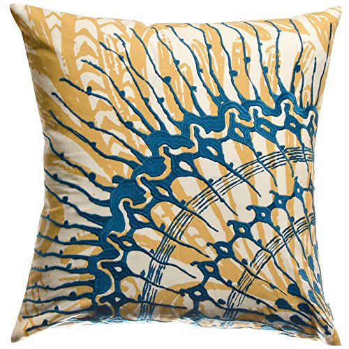 KOKO Water Collection Prints and Embroidery Cotton Decorative Pillow, 18-Inch by 18-Inch, Blue/Mustard