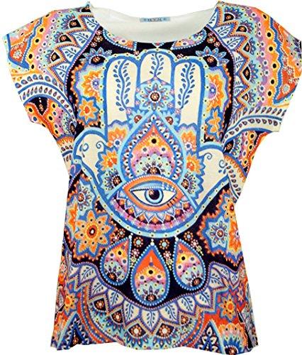 Guru-Shop Psytrance T-Shirt, Yoga T-Shirt, Retro T-Shirt, Damen, Fatimas Hand, Synthetisch, Size:38, Tops & T-Shirts Alternative Bekleidung