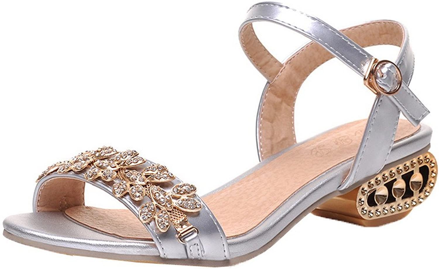 AmoonyFashion Women's Low-Heels Solid Buckle Open-Toe Sandals, BUTLT006675