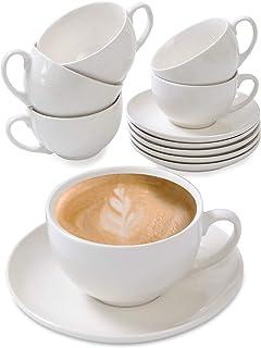 6 Tasses à Cappuccino en Ceramique Blanche - Avec Soucoupes - 180ml - Avec Boîte Cadeau - Lavable au Lave-vaisselle