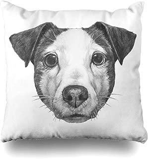 Ahawoso Throw Pillow Cover Square 20x20 Drawn Original Pet Drawing Jack Russell Animals Wildlife Dog Beauty Hand Puppy Tattoo Beautiful Boy Decorative Pillowcase Home Decor Zippered Cushion Case