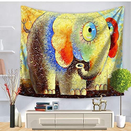 QLIYT Wandteppiche Lustige Süße Bunte Cartoon Elefant Tapisserie Wohnkultur Wandbehang Isomatte Strandtuch Sonnencreme Schal Yoga Matte