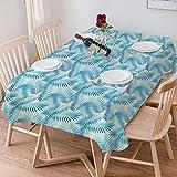 Wachstuch Tischdecke 140x200 cm,Dschungel, Miami Forest Palm Tree Leaves in Pastellfarben Aquarell L,Rechteckige Tischabdeckung Gartentischdecke für Gastronomie, Feste, Party, Hochzeiten oder Haushalt