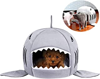 Soft Pet Bed Comfy Cozy Cat Dog Bed Puppy House Indoor Foldable Shark Pet Nest 2 in 1 Pet Home Room Winter Warm Kitten Bedding Cushion Mat Cute Pet Sleeping Pad Washable Kennel Pads Doggy Sofa Bed