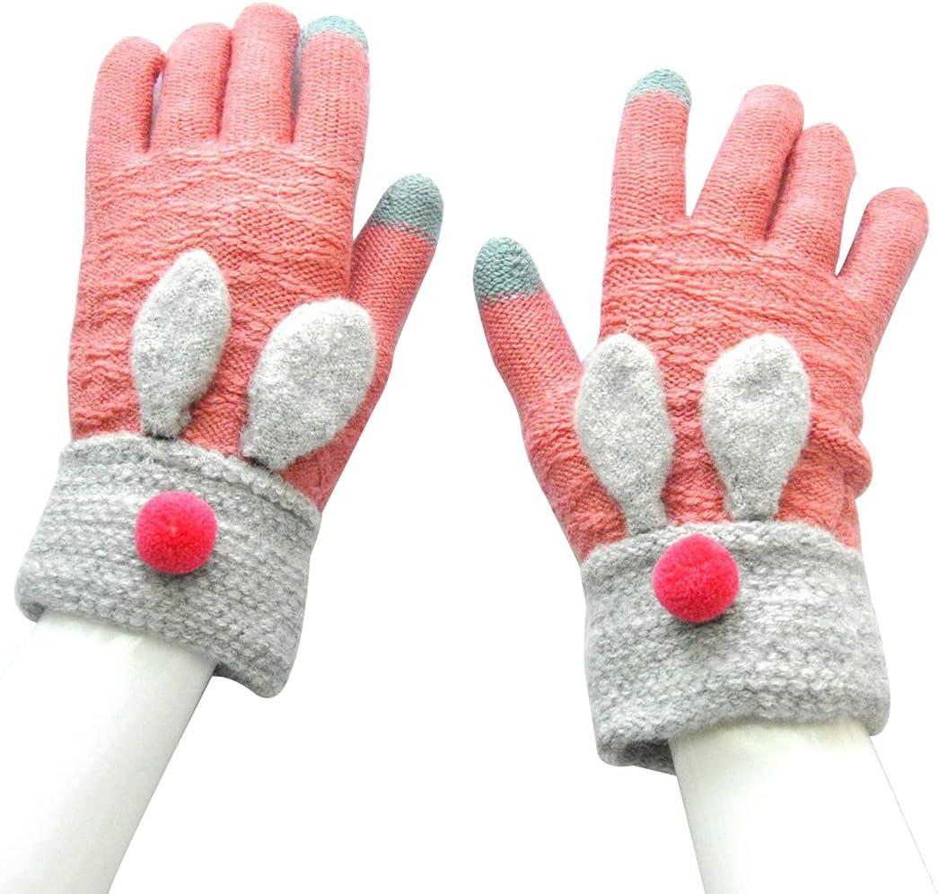 Dorakitten Women Winter Gloves Fashion Rabbit Ears Decor Lovely Cute Nonslip Cartoon Touchscreen Gloves Full Finger