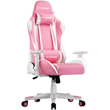 GTRACING Gaming Chair Racing Office Computer Game Chair Ergonomic Backrest and Seat Height Adjustment Recliner Swivel Rocker with Headrest and Lumbar Pillow E-Sports Chair (C-Pink)