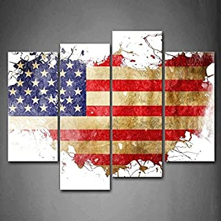Firstwallart American Flag in Its Country'S Outline Wall Art Painting The Picture USA map Print On Canvas Stars and The Stripes Maps Art Pictures for Home Decor Decoration Gift