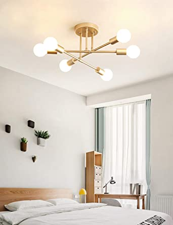 Dellemade Modern Sputnik Chandelier 6 Light Ceiling Light For Bedroom Dining Room Kitchen Office Gold Amazon Ca Electronics
