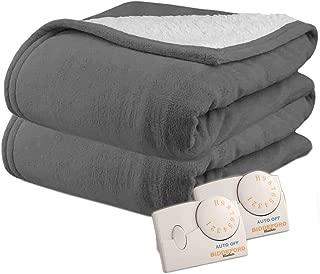 Pure Warmth by Biddeford MicroPlush Sherpa Electric Heated Blanket King Grey