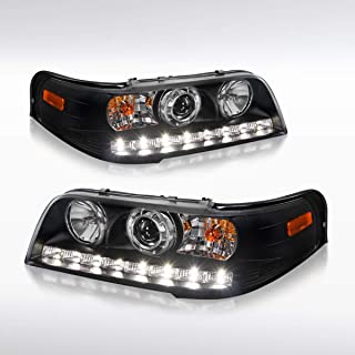 Autozensation For Ford Crown Victoria Euro Black 1PC Style LED Projector Headlights