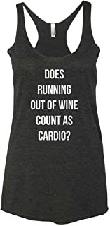 Panoware Women's Funny Workout Tank Top | Does Running Out of Wine Count as Cardio