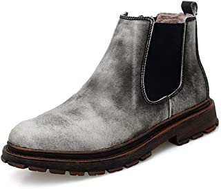 XinQuan Wang Chelsea Boots for Men Ankle Boots Genuine Leather Pull on Dual Side Elastic Band Round Toe Retro Casual Flat Anti-Slip (Color : Gray, Size : 8 UK)