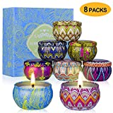 YYCH Scented Candles Gift Set (Lemon, Fig, Lavender, Spring Fresh,Rose ,Jasmine,Vanilla,Bergamot) Soy...