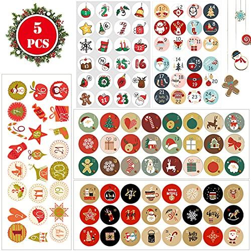 Stickers Calendrier Avent Décorer 5 Pièces Étiquettes Autocollants Joyeux Noël Autocollant Numéro Calendrier Avent Autocollants Chiffres Calendrier Avent pour Autocollants Cadeaux Noël Emballages Noël